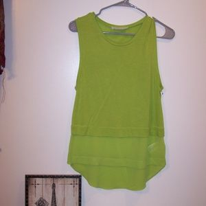 MICHAEL KORS GREEN CHIFFON TANK TUNIC TOP S